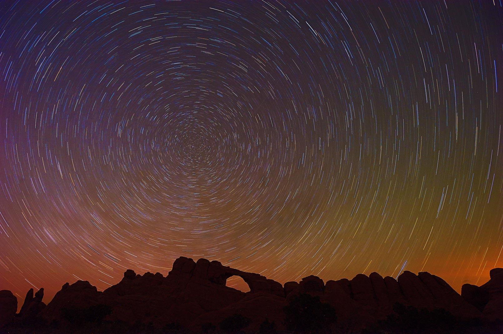 Arches Park Long Exposure Star Trails